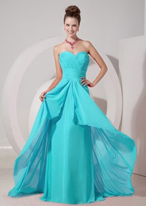 Sweetheart Aqua Blue Brush Train Empire Bridemaid Dress in Albany