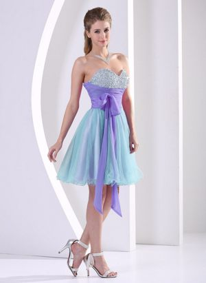 Multi-color Beaded Sweetheart Short Bridemaid Dresses With Sash