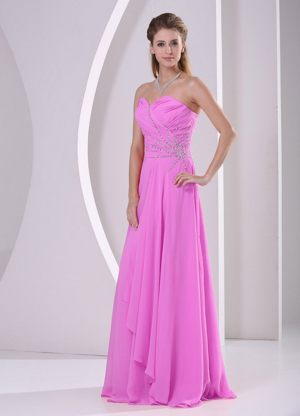 Sweetheart Hot Pink Bead Bridemaid Dress for Church Wedding 2014