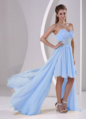 High-low Sweetheart Chiffon Beaded Bridemaid Dress in Light Blue