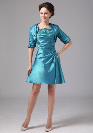 Mini-length Teal Appliques New Bridemaid Dress for Summer Wedding