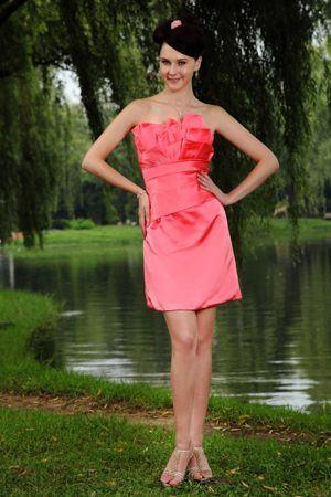 Burnie Mini-length Watermelon Red Column Taffeta Bridesmaid Dress