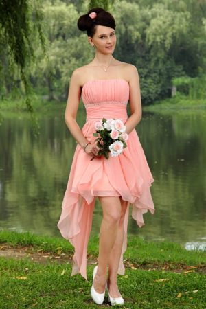 Chiffon Light Pink Mini-length Bridesmaid Dresses with Beadings