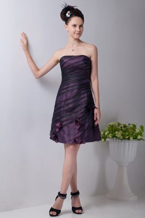 Purple Mini-length Bridesmaid Dress with Hand Made Flower on Sale