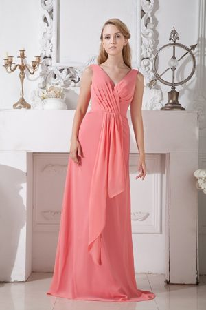 Chiffon Watermelon Red Brush Train Bridesmaid Dresses with V-neck