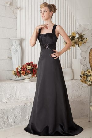 Black Satin Beaded Straps Brush Train Bridesmaid Dress in Burnie