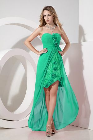 High-low Green Lace Hand Made Flowers Embroidery Bridesmaid Dress