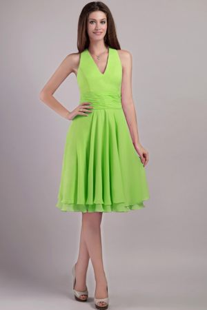 Short Spring Green Chiffon Halter Bridesmaid Dress in Mackay QLD