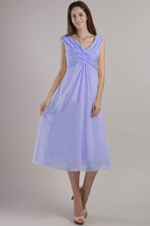 Ankle-length Lilac Chiffon Empire V-neck Bridesmaid Dress in Sale