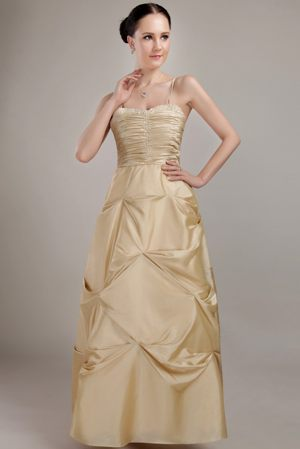 Column Champagne Beaded Bridesmaid Dresses with Spaghetti Straps