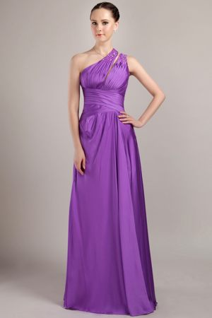 One Shoulder Purple Taffeta Bridesmaid Dress with Beading on Sale
