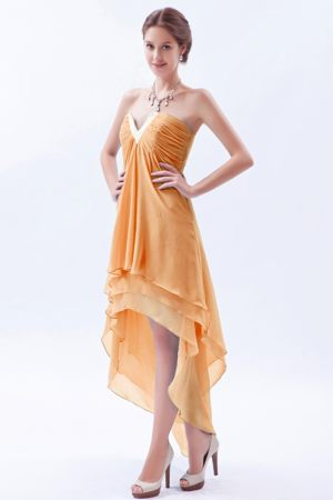 Beaded High-low V-neck Orange Chiffon A-line Bridesmaid Dresses