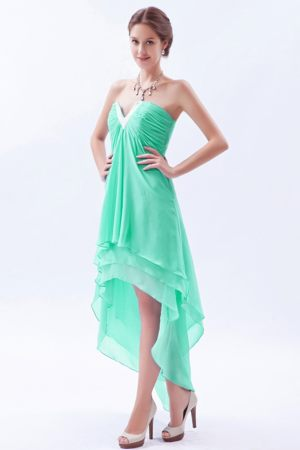 Melton Apple Green High-low V-neck Chiffon Beads Bridesmaid Dress