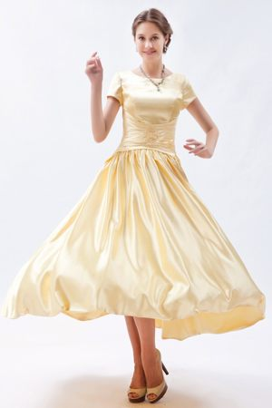 Champagne Taffeta Scoop Sheath Bridesmaid Gown with Short Sleeves