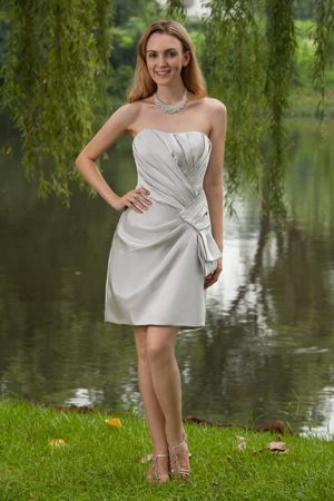 Satin Mini-length Grey Column Ruched Bridesmaid Dresses for Cheap