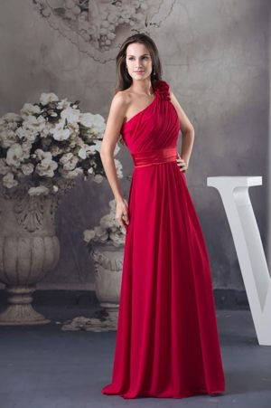 One Shoulder Wine Red Bridemaid Dress for Church Wedding in Perth