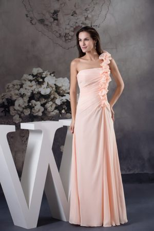 Light Pink Hand Made Flower Chiffon One Shoulder Bridemaid Dress