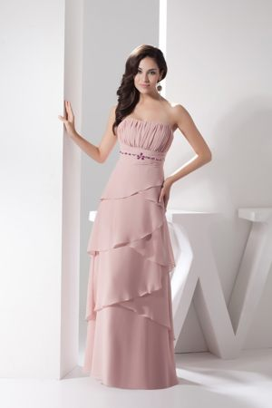 Pink Ruche Layers Bridemaid Dress for Summer Wedding with Beading