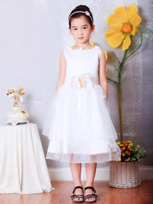 Texas White A-line Scoop Hand Made Flowers Junior Bridesmaid Dress