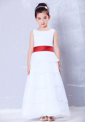 Scoop White and Red A-line Sash Junior Bridesmaid Dress in Wyoming