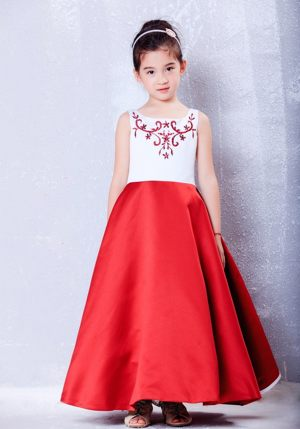White and Red Scoop Embroidery Junior Bridesmaid Dress in Missouri