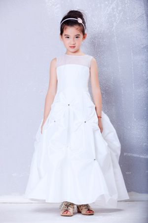 Beading White A-line Bateau Junior Bridesmaid Dress in California