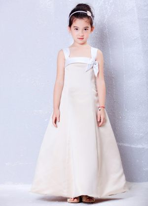 Champagne Square A-line Bows Junior Bridesmaid Dress in Connecticut