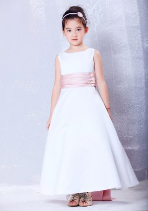 White and Pink A-line Scoop Sash Junior Bridesmaid Dress in Hawaii