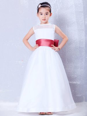 Hawaii White and Coral Red A-line Bateau Junior Bridesmaid Dress