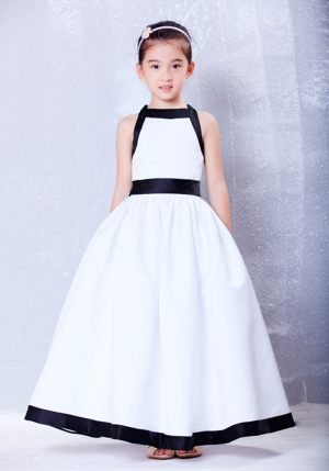 Rhode A-line Square Bow Junior Bridesmaid Dress in White and Black