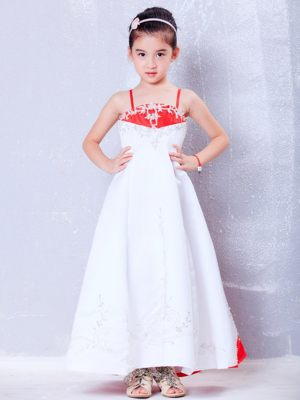 White and Red Straps Embroidery Junior Bridesmaid Dress in Vermont