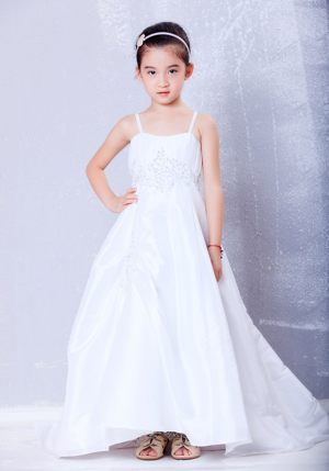 White Straps A-line Appliques Junior Bridesmaid Dress in Tennessee