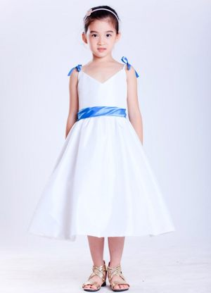 Rhode A-line V-neck Bows Junior Bridesmaid Dress in White and Blue