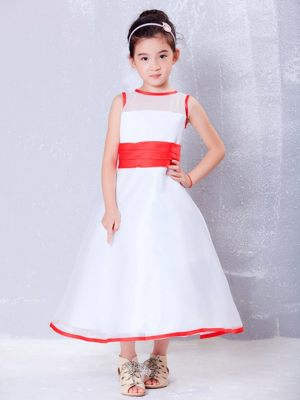 White and Red A-line Scoop Ankle-length Organza Flower Girl Dress