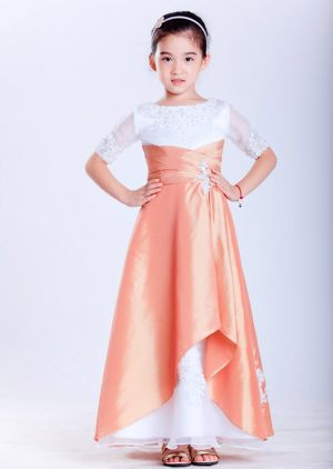 Appliques A-line Scoop Junior Bridesmaid Dress in White and Orange