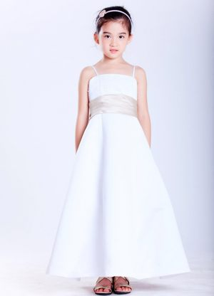 White A-line Straps Beading Junior Bridesmaid Dress in New Mexico