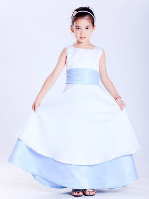 New Mexico White and Light Blue Scoop Sash Junior Bridesmaid Dress