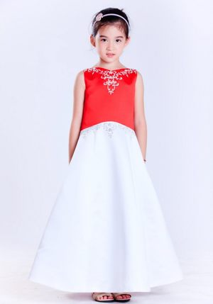 Embroidery A-line V-neck Bow White and Red Junior Bridesmaid Dress