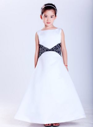 Nebraska White and Black Embroidery Scoop Junior Bridesmaid Dress