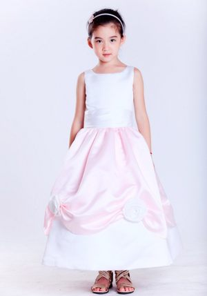 Scoop Flowers White and Pink Junior Bridesmaid Dress in New York