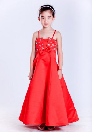 Red A-line Straps Beading Junior Bridesmaid Dress in North Dakota