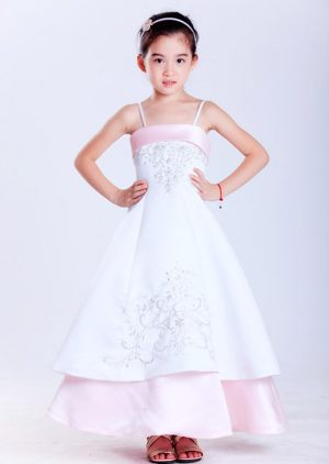 Embroidery White and Pink Straps Junior Bridesmaid Dress in Rhode