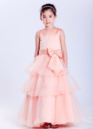 Watermelon Red A-line Bateau Bow Junior Bridesmaid Dress in Nevada