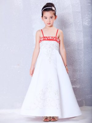 Embroidery A-line Straps Junior Bridesmaid Dress in White and Red