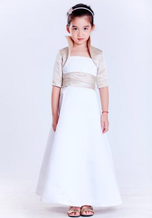 White A-line Strapless Beading Junior Bridesmaid Dress in Oklahoma