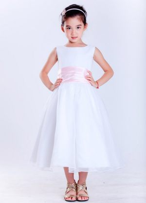 Scoop Junior Bridesmaid Dress with Flower Belt in White and Pink