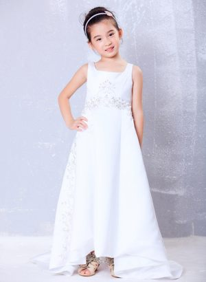 White A-line Beading Junior Bridesmaid Dress Brush Train in White