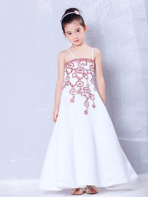 Louisiana White Embroidery A-line Straps Junior Bridesmaid Dress