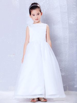 New Hampshise A-line Bateau Beading White Junior Bridesmaid Dress