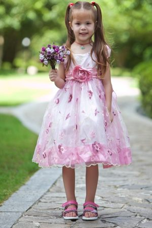 White and Pink Scoop A-line Junior Bridesmaid Dress with Flowers